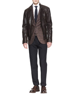 Brunello Cucinelli Leather Asymmetric-Zip Moto Jacket, Two-Button Check Jacket & Five-Pocket Cotton-Wool Pants