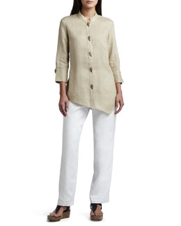 Go Silk Asymmetric Linen Blouse & Straight-Leg Linen Pants