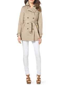 MICHAEL Michael Kors  Short Cotton-Blend Trenchcoat, Ribbed Sweater Tank & Slim Jeans