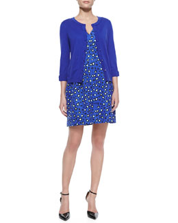 kate spade new york somerset bow-sleeve cardigan  & dawson cyber cheetah/leopard-print dress