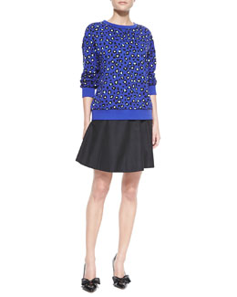 kate spade new york cyber cheetah sweatshirt & lula flared silk-cotton skirt