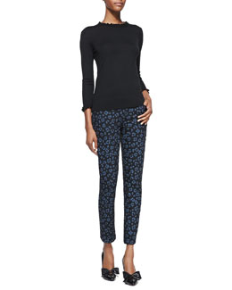 kate spade new york bekki ruffled 3/4-sleeve sweater & cyber cheetah broome stretch denim pants
