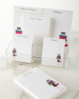 Shopping Girl Notepad Set & Acrylic Holder