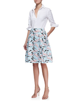 Carolina Herrera Basic Button-Front Shirt & Swimming Ladies Full Party Skirt