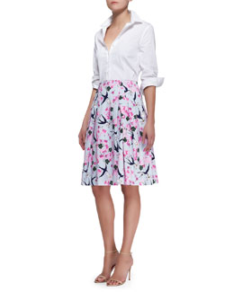 Carolina Herrera Basic Button-Front Shirt & Love Letter Party Skirt