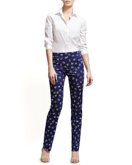 Carolina Herrera Basic Button-Front Shirt & Zodiac Printed Straight-Leg Pants