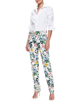 Carolina Herrera Basic Button-Front Shirt & Botanical Printed Straight-Leg Pants