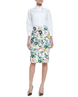 Carolina Herrera Basic Button-Front Shirt & Botanical Printed Pencil Skirt