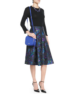 kate spade new york bekki ruffled 3/4-sleeve sweater & floral clip dot a-line skirt