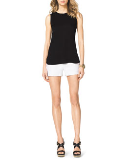 MICHAEL Michael Kors  Drape-Back High-Low Top & Stretch Clean Mini Shorts