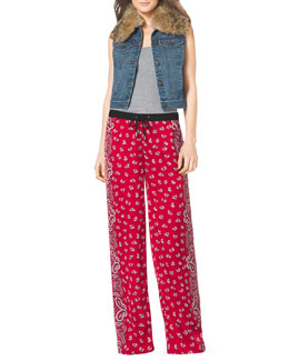 MICHAEL Michael Kors  Fur-Trim Denim Vest, Ribbed Tank & Bandana-Print Wide-Leg Pants
