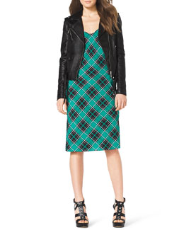 MICHAEL Michael Kors  Leather Moto Jacket & Sleeveless Plaid Slip Dress