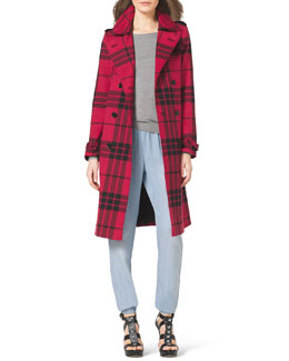 MICHAEL Michael Kors  Long Plaid Trenchcoat, Long-Sleeve Boat-Neck Sweater & Pull-On Chambray Track Pants