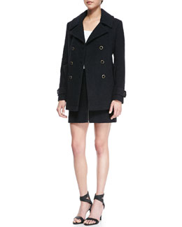Joie Gabrilyn Long-Sleeve Pea Coat & Kristina Textured Zipper Skirt
