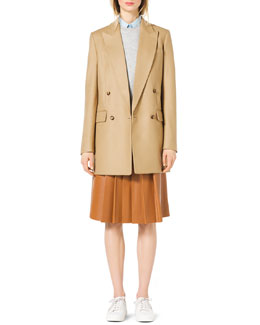 Michael Kors  Long Felt Boyfriend Jacket, Rib-Trim Sweater Vest, Classic Stretch-Cotton Button Shirt & Knee-Length Pleated Leather Skirt
