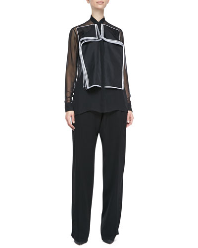 Christopher Kane Organza Double-Layered Flap Blouse & Techno Satin Baggy Leg Pants
