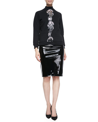 Christopher Kane Mock-Neck Embroidered Sweatshirt & Patent Leather Pencil Skirt