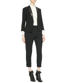 Rag & Bone Smith Leather-Lapel Blazer, Jo Anne Striped Silk Blouse & Park Pleated Cropped Crepe Pants