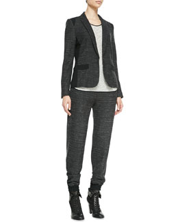 Rag & Bone Howard Solid-Accent Blazer, Spine Solid-Trim Slub Tank & Owen Solid-Top Melange Sweatpants