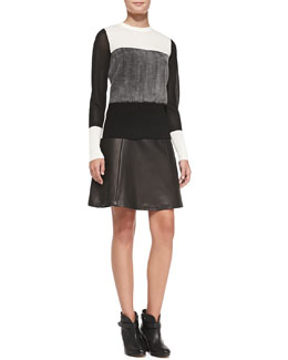Rag & Bone Marissa Colorblock Knit Sweater & Gayle Leather-Patch Crepe Skirt
