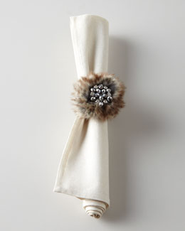 Juliska Metallic Cross Dye Napkin & Apres Ski Napkin Ring