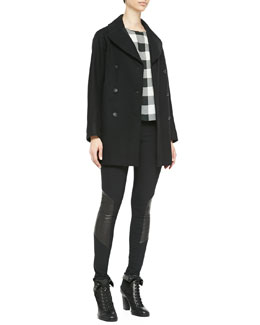 Rag & Bone Stanley Wide-Lapel Wool Peacoat, Harper Magnified Houndstooth Silk Top & Elettra Paneled Leather Leggings
