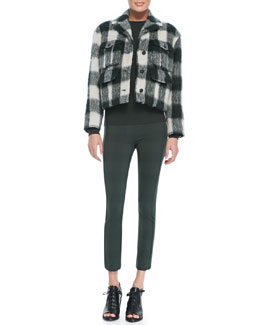 Rag & Bone Louisiana Cropped Fuzzy Plaid Jacket, Sydney Raised-Seam Knit Sweater & Simone Houndstooth-Plaid Slim Pants