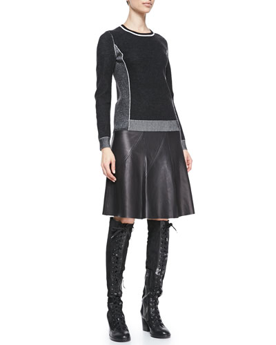 Rag & Bone Taylor Metallic-Trim Knit Sweater & Kelly A-Line Leather Skirt