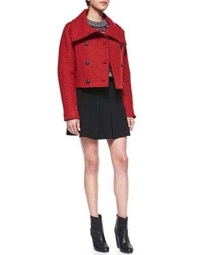 Rag & Bone Harper Felt Coat, Hailey Crewneck Sweater & Isla Knit Pleated Skirt
