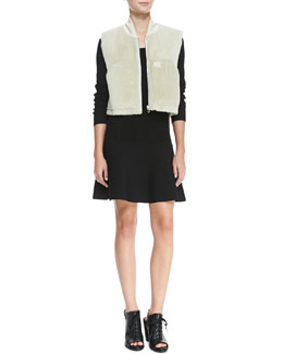 Rag & Bone Shearling Fur Work Vest & Isla Long-Sleeve Ribbed-Knit Dress