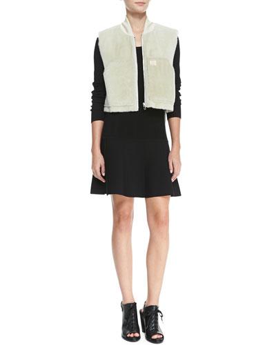 Rag & Bone Shearling Fur Work Vest & Isla Long-Sleeve Ribbed-Knit Dress