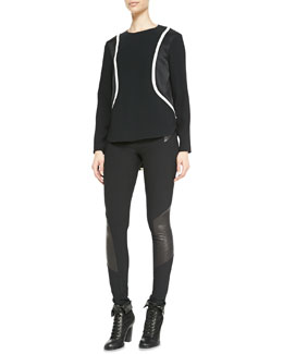 Rag & Bone Andrea Long-Sleeve Two-Tone Top & Elettra Paneled Leather Leggings