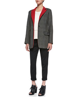 Rag & Bone Paloma Contrast-Lapel Wool Blazer,  Alex Open-Stitch Detail Knit Top & Em Wool Cropped Pants