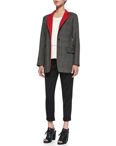 Rag & Bone Paloma Contrast-Lapel Wool Blazer,  Alex Open-Stitch Detail Knit Top & Em Wool Cropped Pants