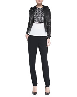 A.L.C. Night Studded Leather Moto Jacket, Lace Combo Top & Elliott Leather-Trim Straight-Leg Pants