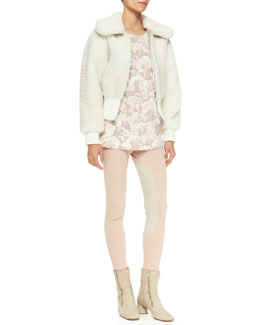 Marc Jacobs Shearling Cropped Bomber Jacket, Wool Crewneck Long-Sleeve Top & Colorblock Suede-Inseam Leggings