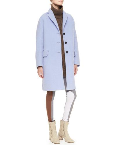 Marc Jacobs 3-Button Alpaca-Blend Coat, Turtleneck Cashmere Knit Shirtdress & Colorblock Leggings
