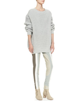 Marc Jacobs Crewneck Long-Sleeve Oversized Sweater & Colorblock Suede-Inseam Leggings