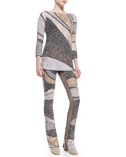 Marc Jacobs Wool Sequin Wave 3/4-Sleeve Tunic & Flared-Leg Pants
