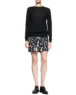 Proenza Schouler Long-Sleeve Crewneck Sweater and Printed Flocked Mini Skirt