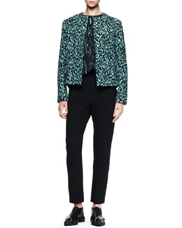 Proenza Schouler Boucle Jacquard Topper, Printed Flocked Blouse & Cropped Straight-Leg Pants