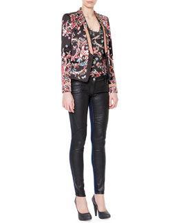 Just Cavalli Floral Print Long-Sleeve Satin Blazer, Floral Print Raglan Jersey Top & Waxed-Front Denim Jeans