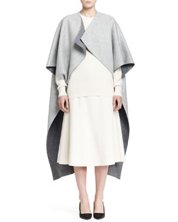 THE ROW Arnet Melange Cutaway Coat, Alden Knit Top and Lynn Wool Crepe Midi Skirt