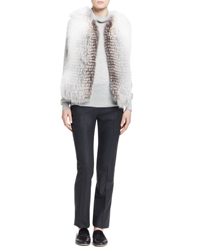 THE ROW Reversible Fox Fur Vest, Linden Turtleneck Top & Wally Wool Flannel Pants