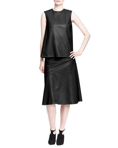 THE ROW Drapley Sleeveless Leather Top and Rellin A-Line Leather Skirt
