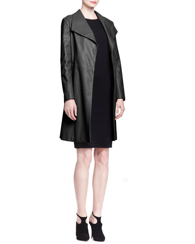 THE ROW Wallin Lightweight Leather Coat and Ilid Long-Sleeve Scuba Dress