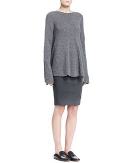 THE ROW Sabelle Fluted Cashmere Top and Basio Stretch Pencil Skirt