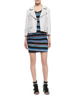Rebecca Minkoff Wes Perforated Leather Moto Jacket & Paloma Striped Sleeveless Dress