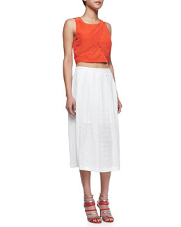 Rebecca Minkoff Malone Draped Silk Crop Top & Piper Open-Weave Mesh Skirt