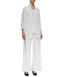 Caroline Rose Sheer Jacquard Cardigan, Sleeveless Long Tank & Wide-Leg Pants